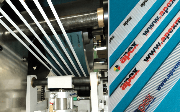 Polypropylene and other strapping printed on Apex Printing machines